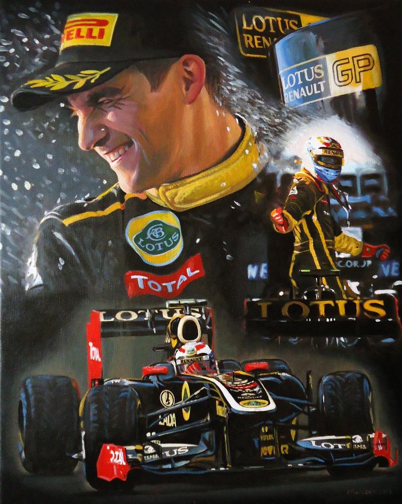 Виталий Петров празднует подиум за Lotus в Альберт-Парке на Гран-при Австралии 2011 - картина Roman Goloseev