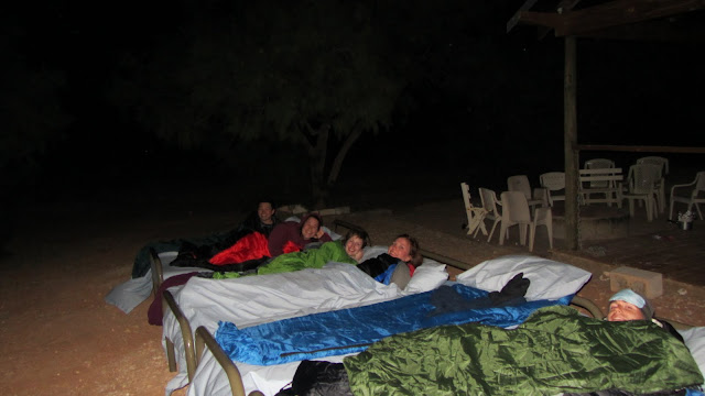 Sleeping under the stars at the outback sheep shearing station.