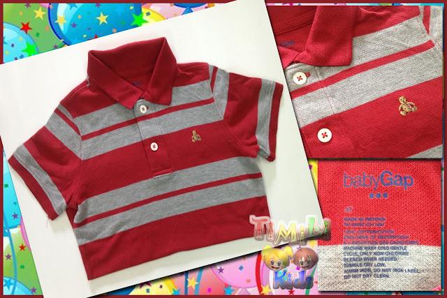 Áo thun bé trai cổ trụ hiệu babyGap, hàng xuất xịn made in vietnam, sọc nhỏ đỏ cam xám.