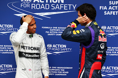 Льюис Хэмилтон и Марк Уэббер после квалификации на Гран-при Австралии 2013