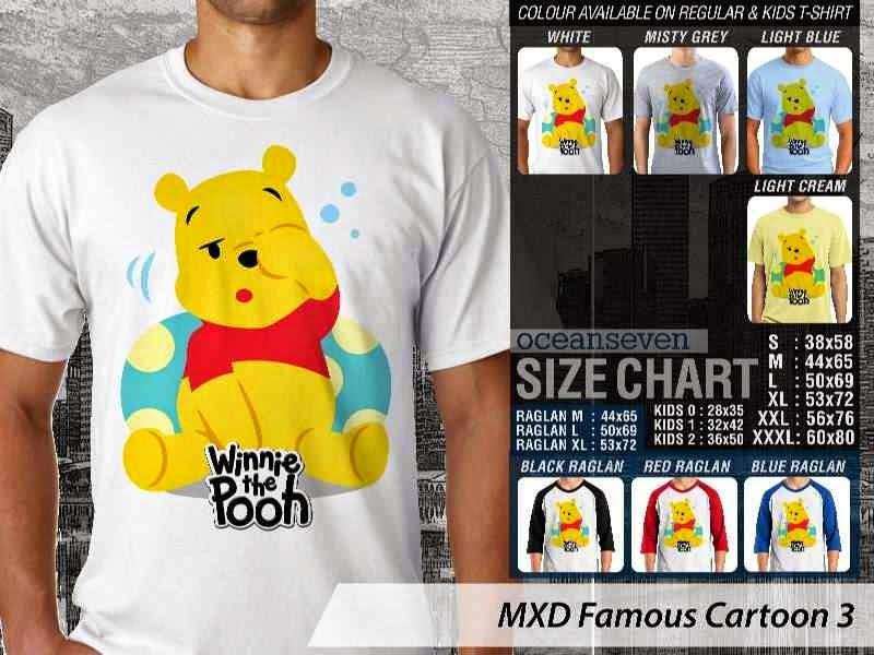 KAOS Winnie the Pooh 3 Kartun Lucu distro ocean seven