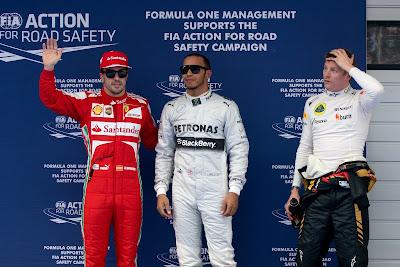 Фернандо Алонсо, Льюис Хэмилтон и Кими Райкконен после квалификации на Гран-при Китая 2013
