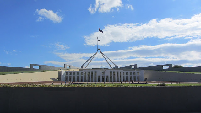 Parliament House - shaped like a giant boomerang.