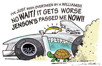 Льюис Хэмилтон теряет позиции на Гран-при Испании 2013 - комикс Jim Bamber