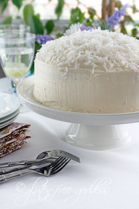 Gluten free dairy free coconut layer cake
