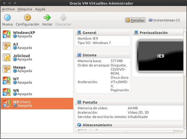 VirtualBox resaltando Windows 7 con IE9