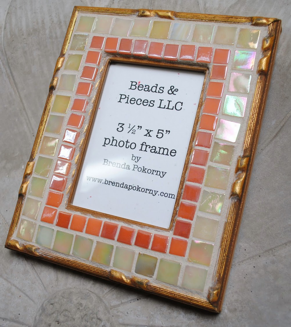 "Peach, Gold & Ivory Elegant 3 1/2"" x 5"" Mosaic Photo Frame MOF1379"