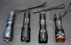 "My 18650 torches: Sky Ray XM-L T6, P-Rocket XML, Ultrafire 502B, Trustfire Z3 ""zoomable"""