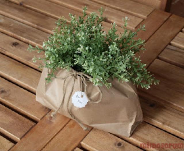 Ideas para envolver regalos con papel kraft. Saquitos para plantas