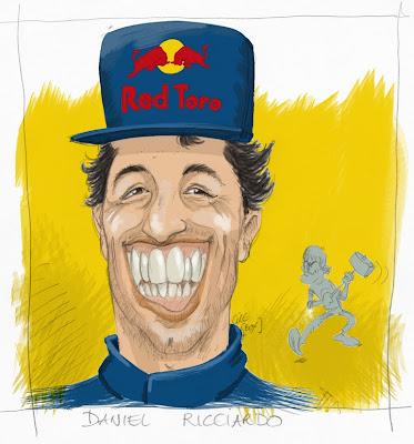 Даниэль Риккардо присоединяется к Себастьяну Феттелю в Red Bull - карикатура Cirebox