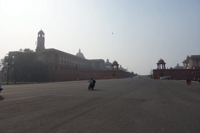 Grand government buildings along Rajpath.