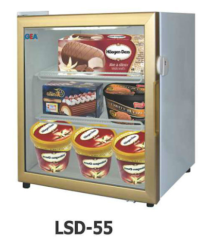 Mesin Pemajang Es Krim (Up Right Glass Door Freezer) Kapasitas Kecil : LSD-55