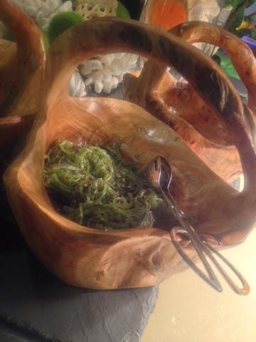A basket of seaweed salad