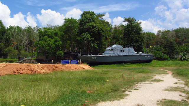 Patrol Boat 813 was swept 2km inland during the tsunami. It is being left in this same spot as a memorial.