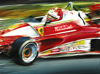 Ники Лауда Ferrari 312 T2 на Нюрбургринге - рисунок Andrea Del Pesco