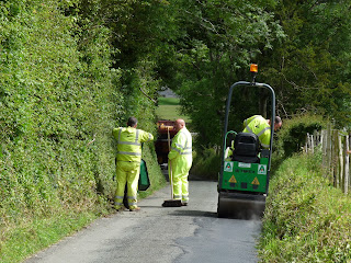 Roadworks in Loweswater. We had to wait temporarily to pass the workmen.