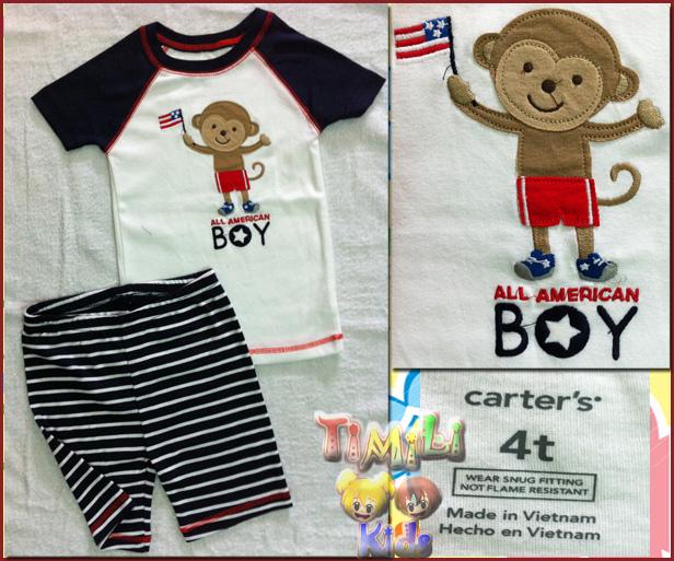 Bộ bé trai Child of mine - một nhãn hàng của Carter's- màu xanh , hình con khỉ, việt nam xuất khẩu.