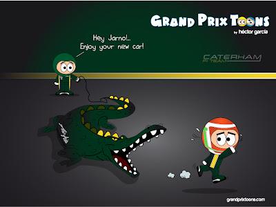Ярно Трулли убегает от нового крокодила Caterham CT01 - комикс Grand Prix Toons