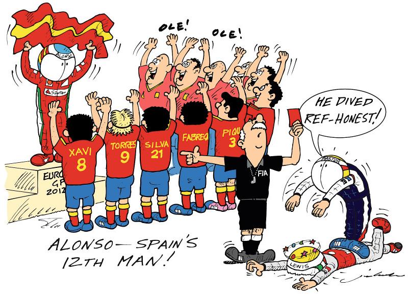 Alonso Spain's 12th man Фернандо Алонсо комикс Jim Bamber по Гран-при Европы 2012