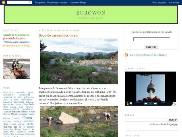 Primer diseño del blog Eurowon