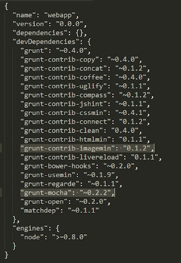 Grunt package.json