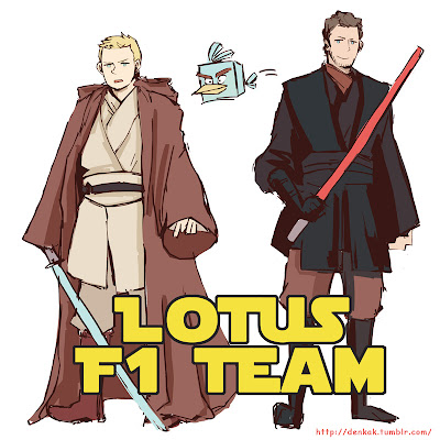 Кими Райкконен и Ромэн Грожан Jedi masters Lotus F1 Team комикс denkak @s_i_g_
