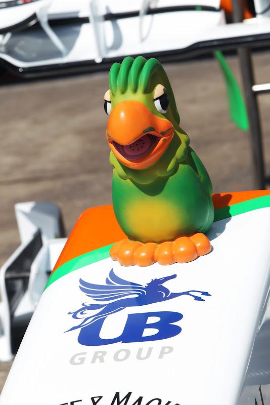 попугай Loro Jose на носовом обтекателе Force India на Гран-при Бразилии 2011