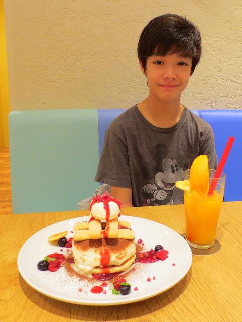 Kai and his very impressive pancake breakfast
