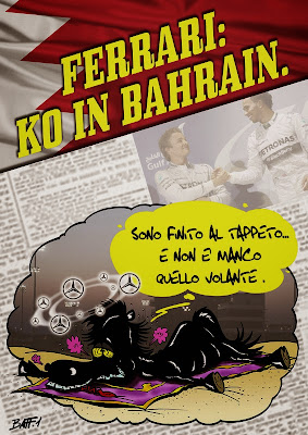 Ferrari отправляется в нокаут на Гран-при Бахрейна 2014 - комикс Baffi