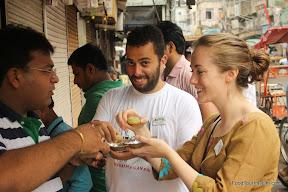 Eating gol gappa http://indiafoodtour.com  http://foodtourindelhi.com