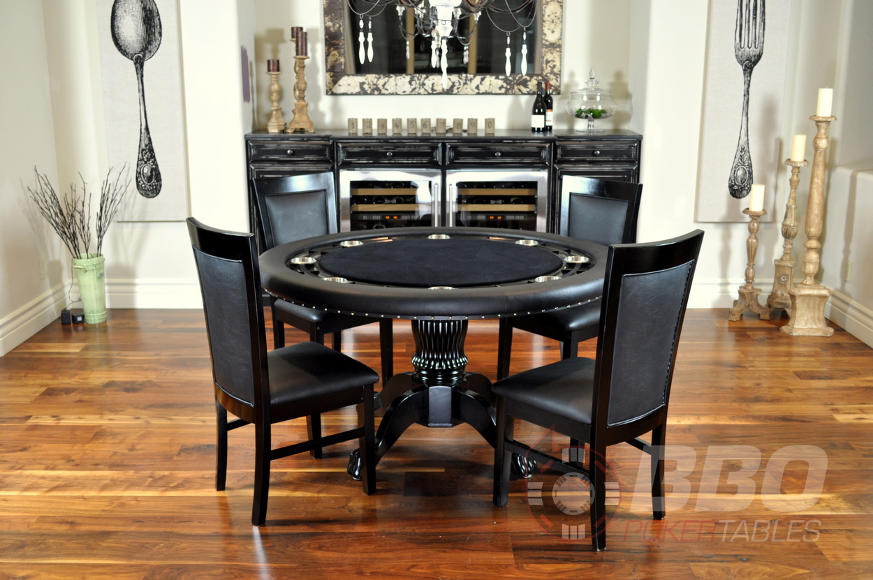 1 669 the nighthawk round card table 4 matching dining