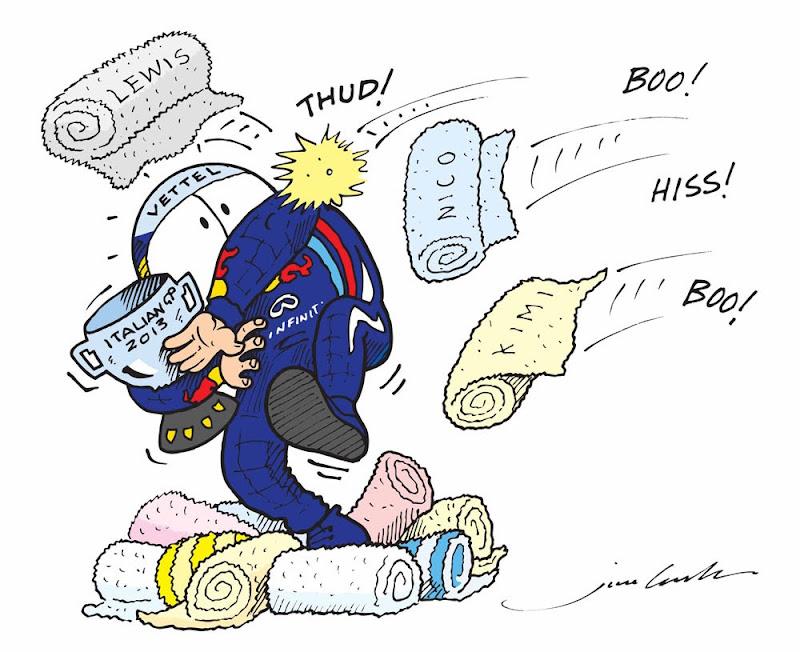 Себастьяна Феттеля освистывают болельщики подиуме Монцы на Гран-при Италии 2013 - комикс Jim Bamber