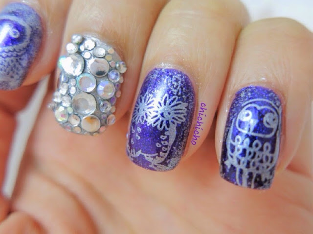 Owls Nail Art (Image Plate Qgirl036 Born Pretty Store Review)
