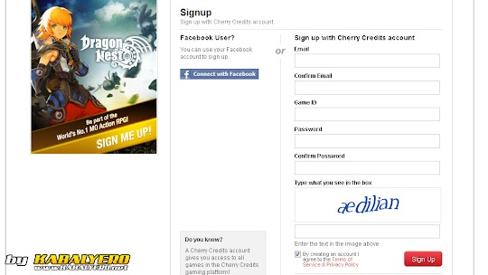 Dragon Nest Sign-Up Form