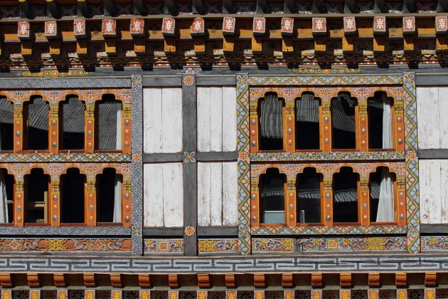 Colourful windows of Lamey Gompa, Bumthang, Bhutan