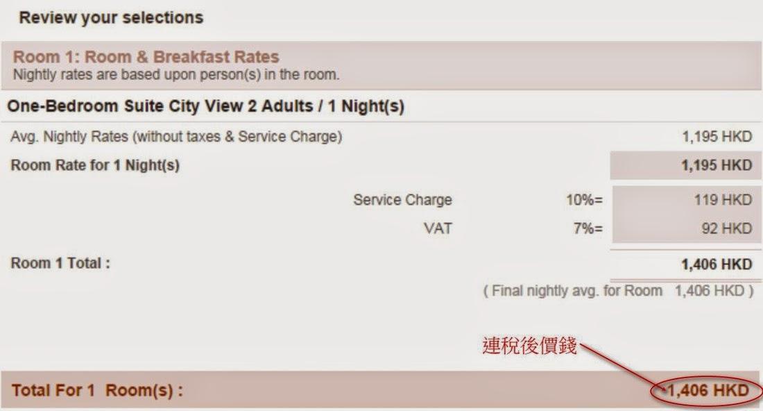 曼谷東方公寓 (Oriental Residence Bangkok)連稅後價錢,比還其他訂房網平約$350晚(假設3月3日入住One-Bedroom Suite)