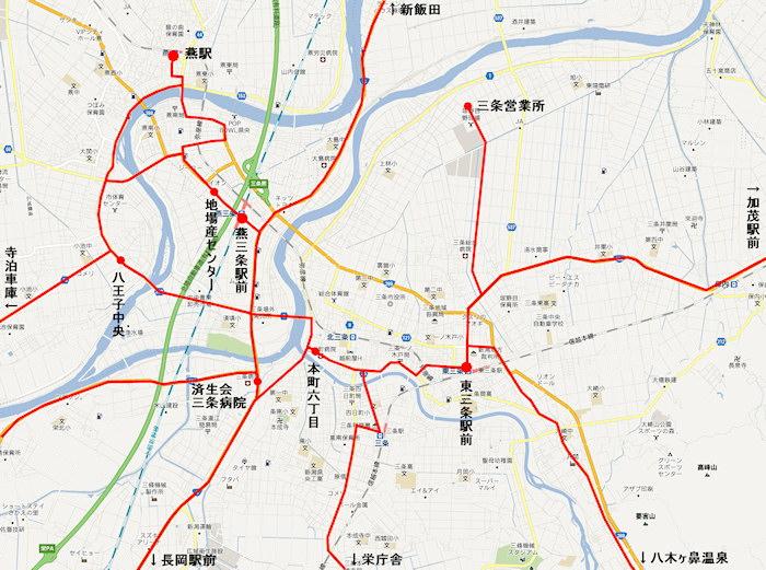 東三条駅バス路線図