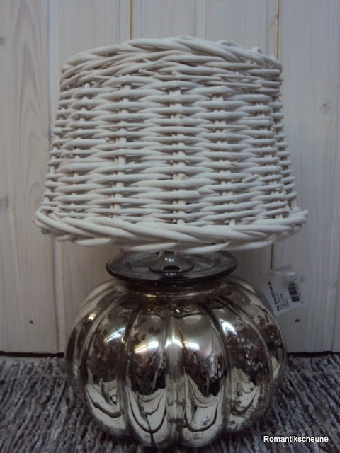 vintage tischleuchte tischlampe bauernsilber rattan wei shabby chic ebay. Black Bedroom Furniture Sets. Home Design Ideas