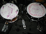 Tracy (blake's drummer)'s daughter left him notes on his drumhead.