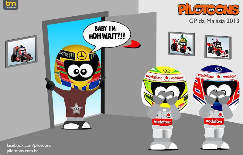 Льюис Хэмилтон возвращается в McLaren на Гран-при Малайзии 2013 - pilotoons