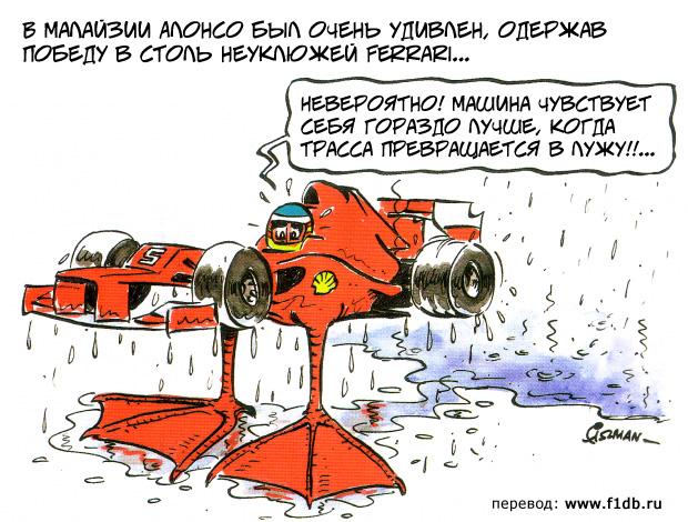 Фернандо Алонсо на утконосе Ferrari побеждает в Куала-Лумпуре - комикс Fiszman по Гран-при Малайзии 2012