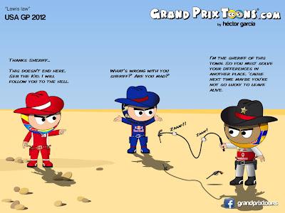 комикс Grand Prix Toons о ковбоях Гран-при США 2012