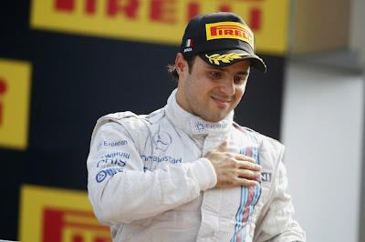 Фелипе Масса на подиуме Монцаы на Гран-при Италии 2014