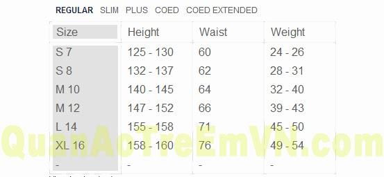 Bảng số đo quần áo trẻ em vnxk, Lands'End.