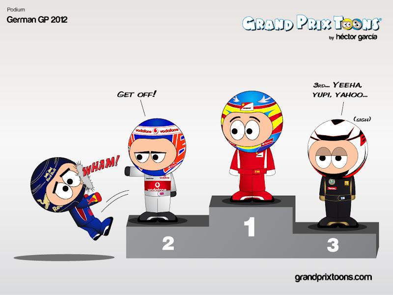 Себастьян Феттель падает с подиума - Grand Prix Toons по Гран-при Германии 2012