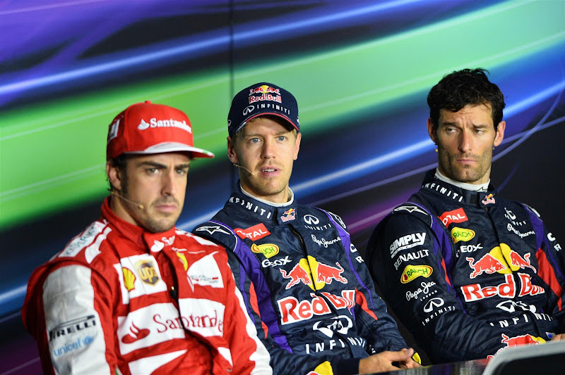 Фернандо Алонсо, Себастьян Феттель и Марк Уэббер на пресс-конференции в воскресенье на Гран-при Италии 2013