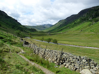 Looking up the Langstrath Valley. Lots of sunny patches and shadows.