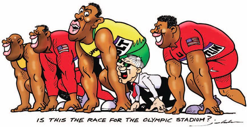 Берни Экклстоун на беговой дорожке - комикс Jim Bamber