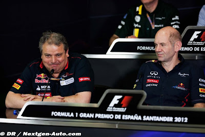 Джорджио Асканелли и Эдриан Ньюи на пресс-конференции в пятницу на Гран-при Испании 2012