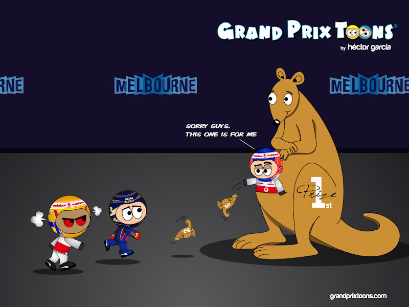 Дженсон Баттон выигрывает главный приз - кенгуру на Гран-при Австралии 2012 - комикс Grand Prix Toons